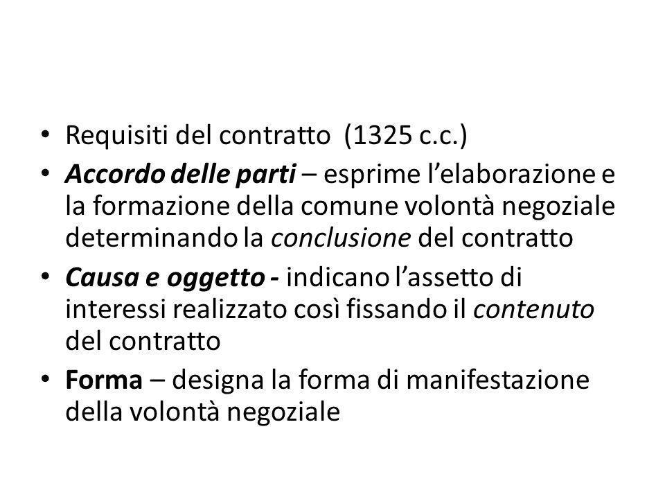 Requisiti del contratto (1325 c.c.) Accordo delle parti – esprime l'elaborazione e la formazione della comune volontà negoziale determinando la conclu