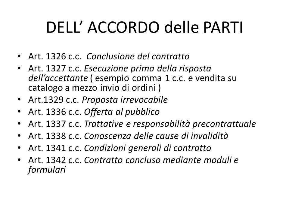 DELL' ACCORDO delle PARTI Art. 1326 c.c. Conclusione del contratto Art. 1327 c.c. Esecuzione prima della risposta dell'accettante ( esempio comma 1 c.