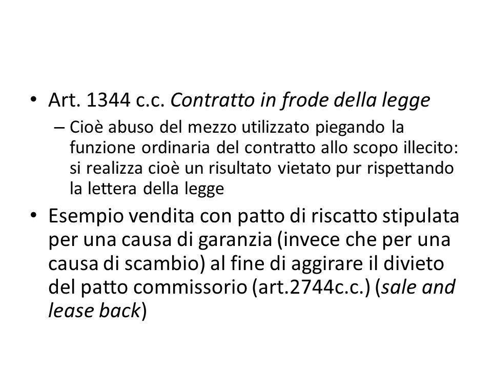 Art. 1344 c.c. Contratto in frode della legge – Cioè abuso del mezzo utilizzato piegando la funzione ordinaria del contratto allo scopo illecito: si r