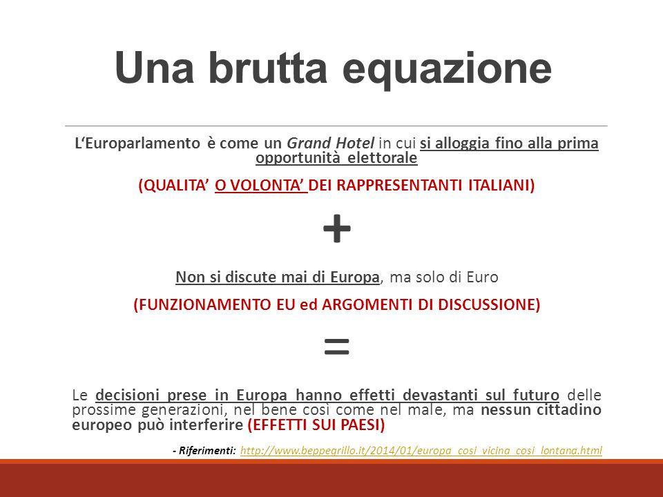 Una brutta equazione L'Europarlamento è come un Grand Hotel in cui si alloggia fino alla prima opportunità elettorale (QUALITA' O VOLONTA' DEI RAPPRES