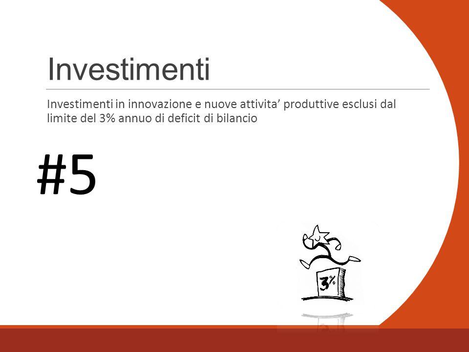 Investimenti Investimenti in innovazione e nuove attivita' produttive esclusi dal limite del 3% annuo di deficit di bilancio #5