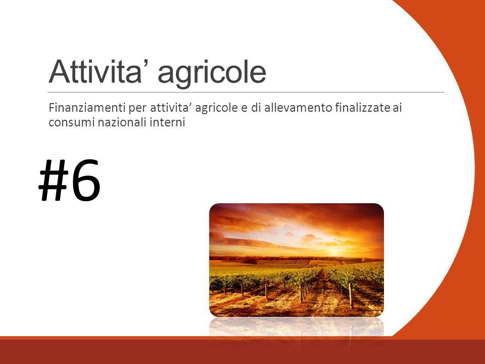 Attivita' agricole Finanziamenti per attivita' agricole e di allevamento finalizzate ai consumi nazionali interni #6