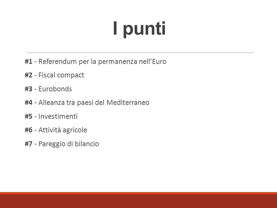 I punti #1 - Referendum per la permanenza nell'Euro #2 - Fiscal compact #3 - Eurobonds #4 - Alleanza tra paesi del Mediterraneo #5 - Investimenti #6 -