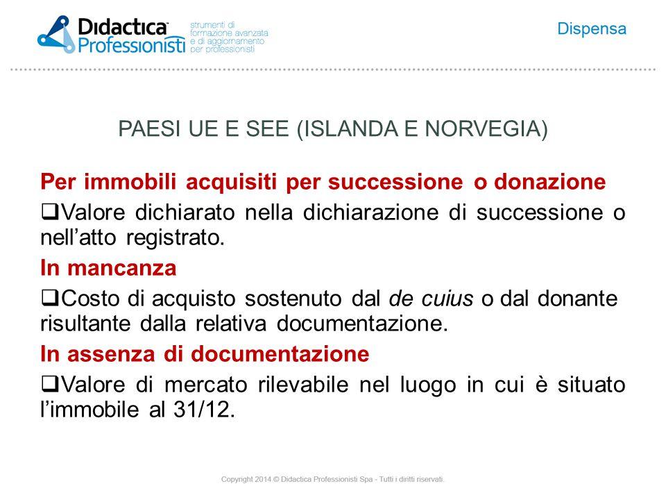 Per immobili acquisiti per successione o donazione  Valore dichiarato nella dichiarazione di successione o nell'atto registrato.