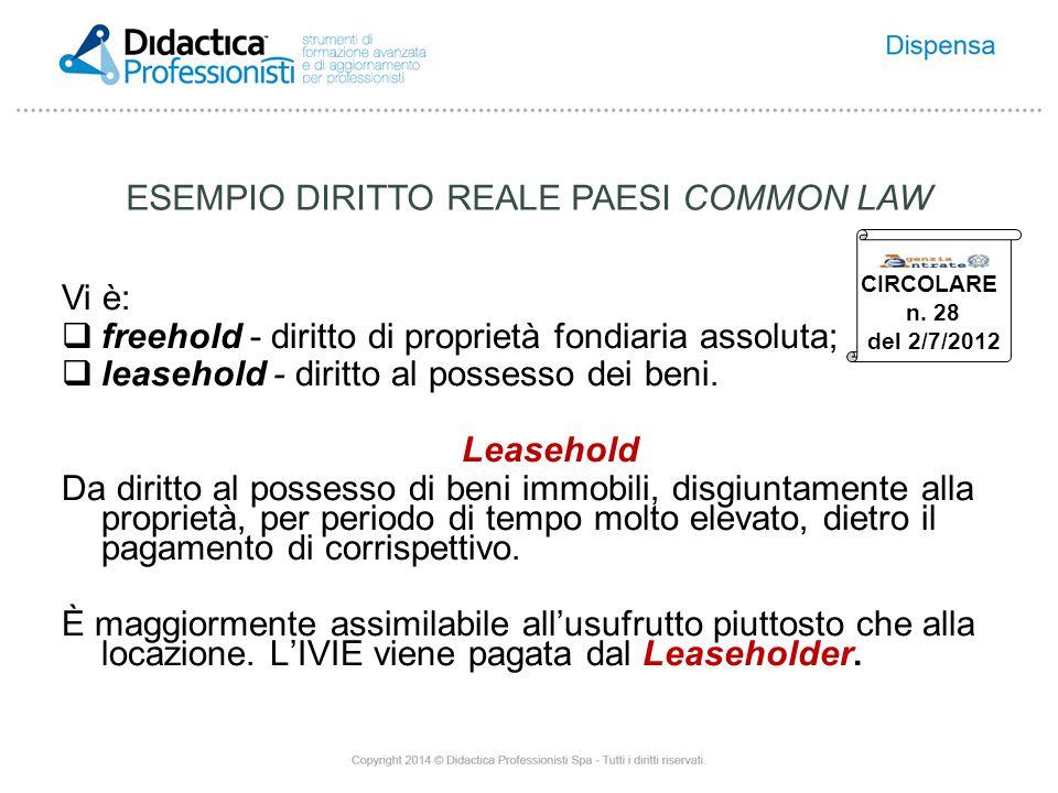 Vi è:  freehold - diritto di proprietà fondiaria assoluta;  leasehold - diritto al possesso dei beni.