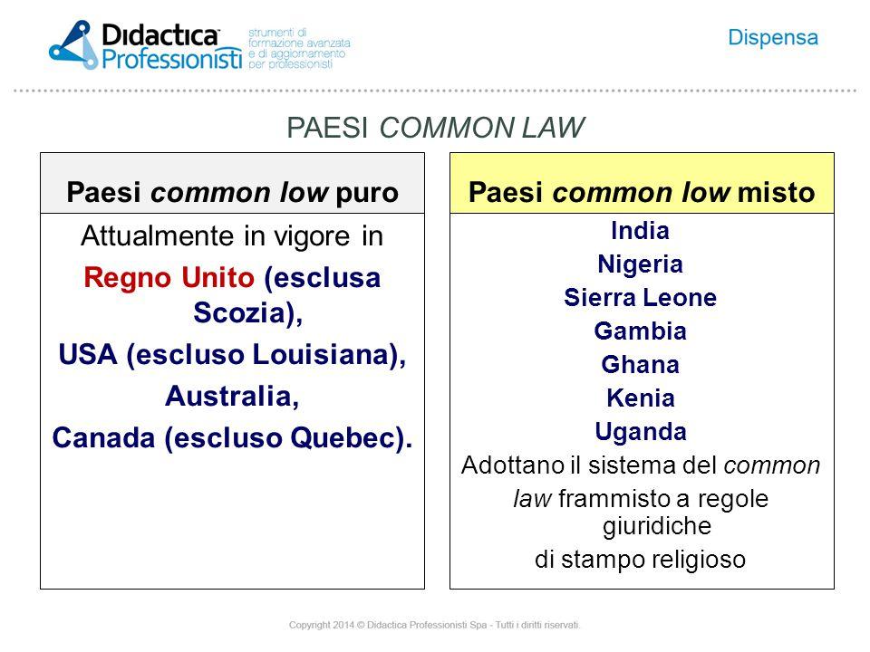 Paesi common low puro Attualmente in vigore in Regno Unito (esclusa Scozia), USA (escluso Louisiana), Australia, Canada (escluso Quebec).