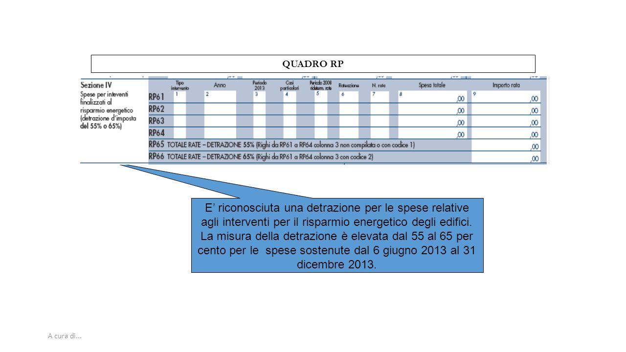A cura di... QUADRO RP E' riconosciuta una detrazione per le spese relative agli interventi per il risparmio energetico degli edifici. La misura della
