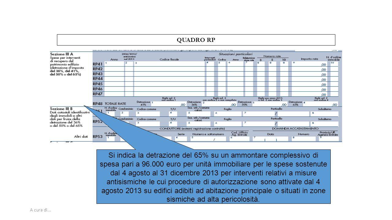 A cura di... QUADRO RP Si indica la detrazione del 65% su un ammontare complessivo di spesa pari a 96.000 euro per unità immobiliare per le spese sost