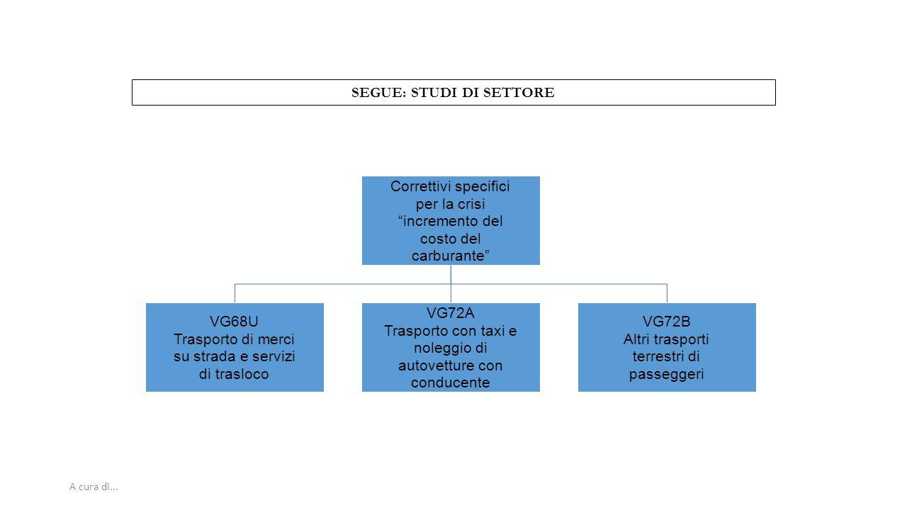 """A cura di... SEGUE: STUDI DI SETTORE Correttivi specifici per la crisi """"incremento del costo del carburante"""" VG68U Trasporto di merci su strada e serv"""