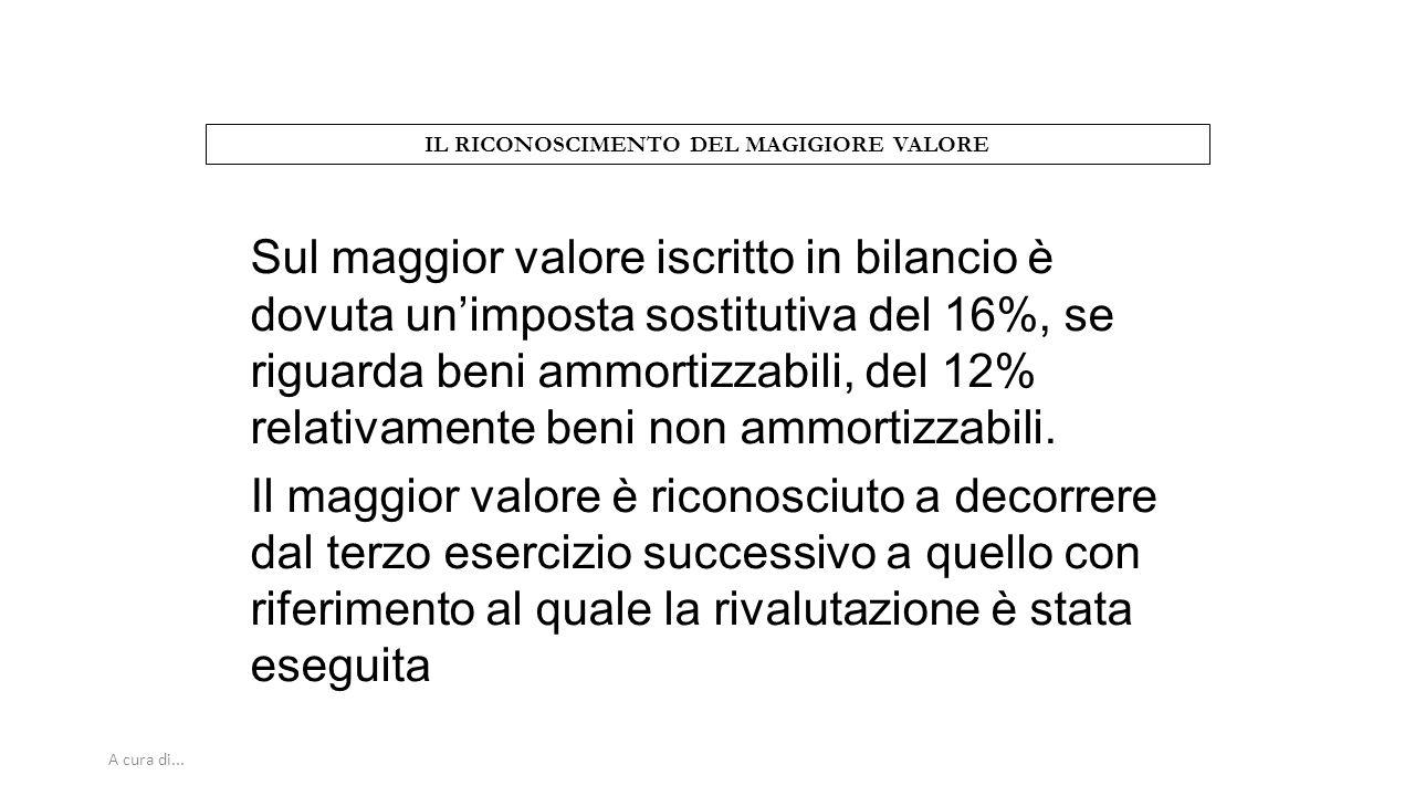 A cura di... IL RICONOSCIMENTO DEL MAGIGIORE VALORE Sul maggior valore iscritto in bilancio è dovuta un'imposta sostitutiva del 16%, se riguarda beni