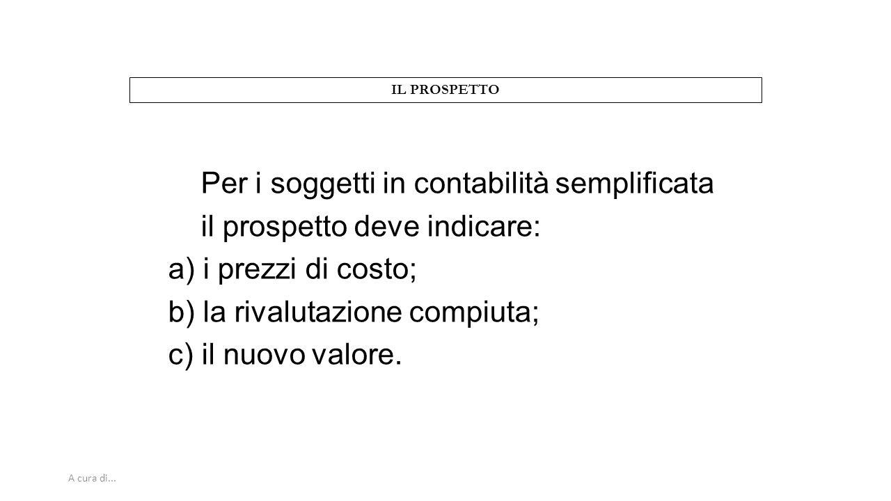 A cura di... IL PROSPETTO Per i soggetti in contabilità semplificata il prospetto deve indicare: a) i prezzi di costo; b) la rivalutazione compiuta; c