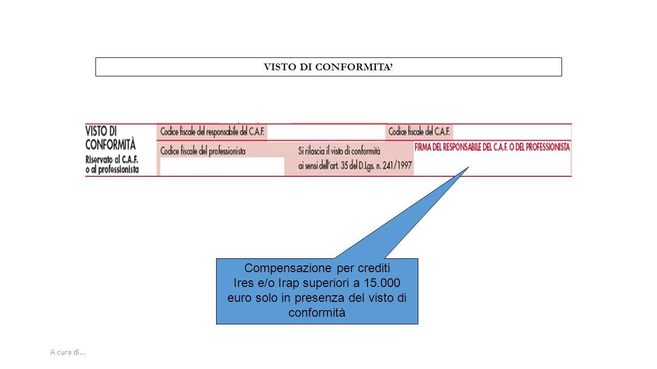 A cura di... VISTO DI CONFORMITA' Compensazione per crediti Ires e/o Irap superiori a 15.000 euro solo in presenza del visto di conformità