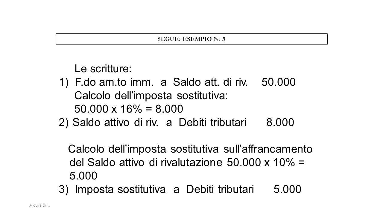 A cura di... SEGUE: ESEMPIO N. 3 Le scritture: 1) F.do am.to imm. a Saldo att. di riv. 50.000 Calcolo dell'imposta sostitutiva: 50.000 x 16% = 8.000 2