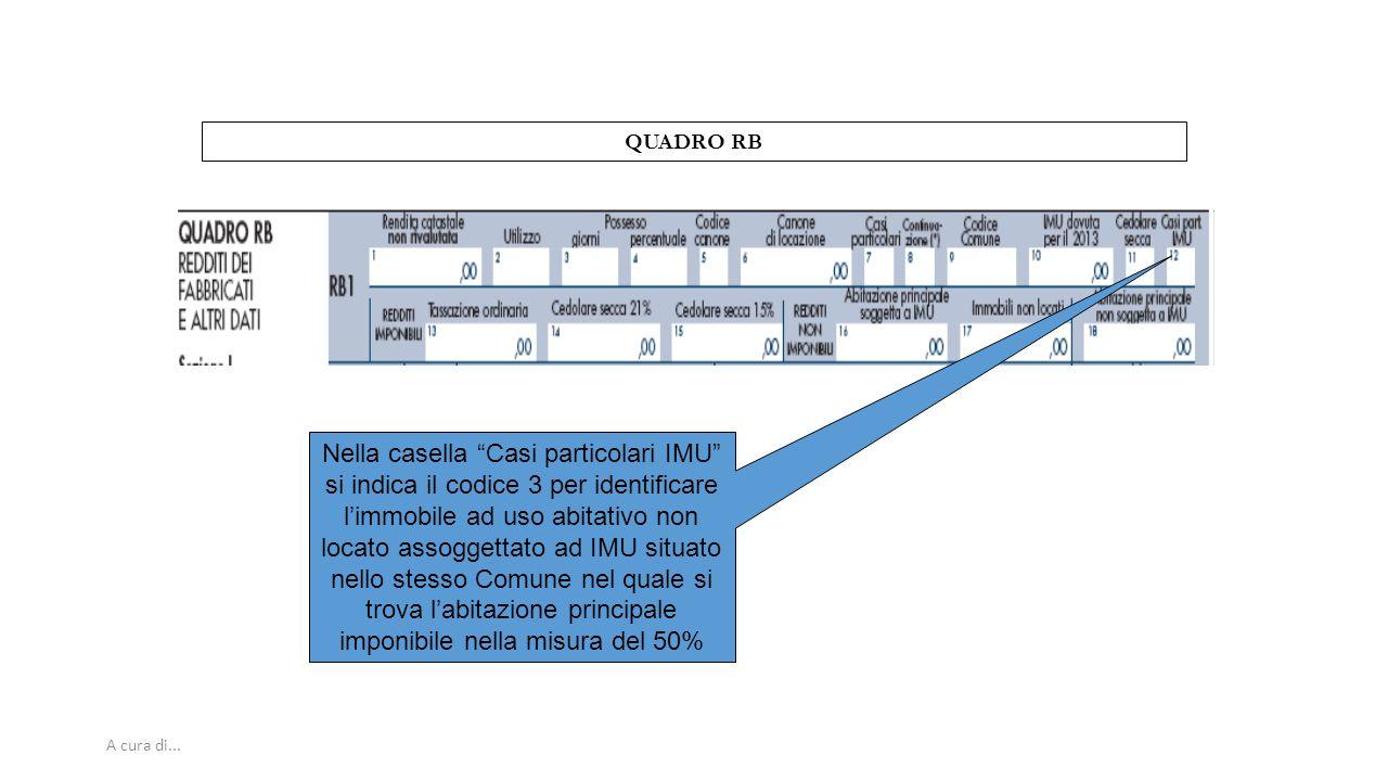 """A cura di... QUADRO RB Nella casella """"Casi particolari IMU"""" si indica il codice 3 per identificare l'immobile ad uso abitativo non locato assoggettato"""
