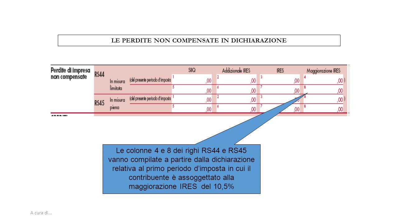 A cura di... LE PERDITE NON COMPENSATE IN DICHIARAZIONE Le colonne 4 e 8 dei righi RS44 e RS45 vanno compilate a partire dalla dichiarazione relativa