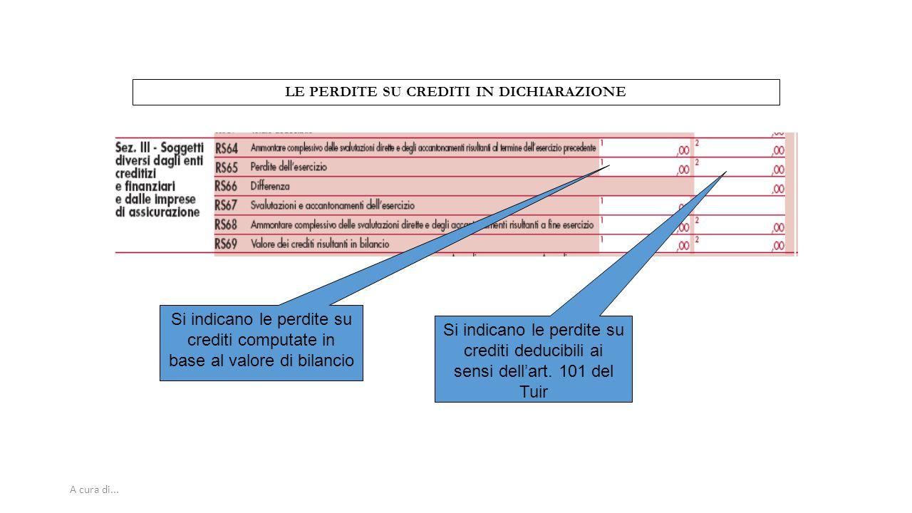 A cura di... LE PERDITE SU CREDITI IN DICHIARAZIONE Si indicano le perdite su crediti computate in base al valore di bilancio Si indicano le perdite s