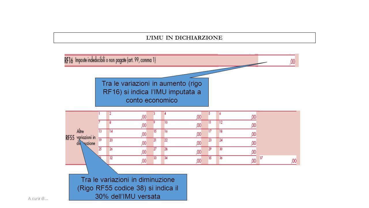 A cura di... L'IMU IN DICHIARZIONE Tra le variazioni in aumento (rigo RF16) si indica l'IMU imputata a conto economico Tra le variazioni in diminuzion