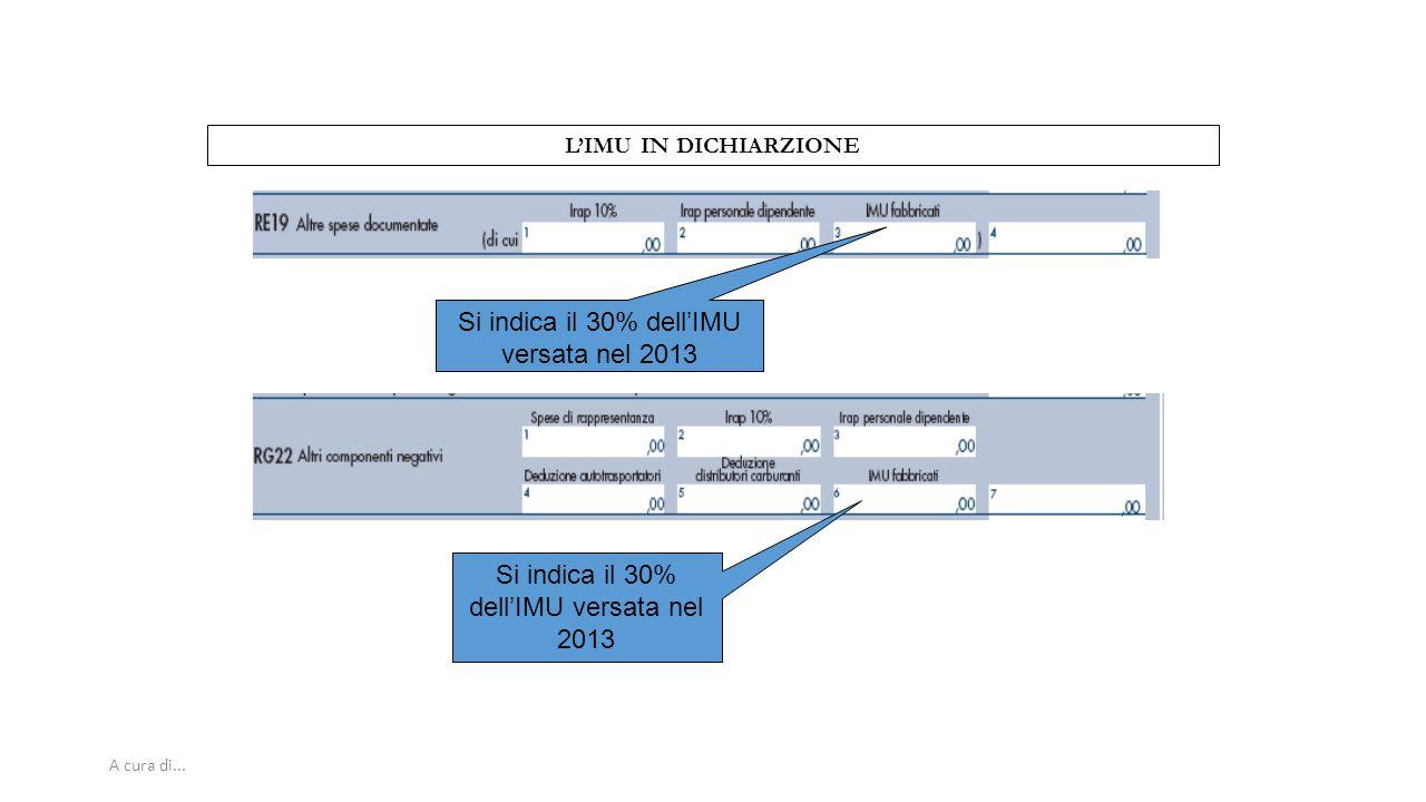 A cura di... L'IMU IN DICHIARZIONE Si indica il 30% dell'IMU versata nel 2013