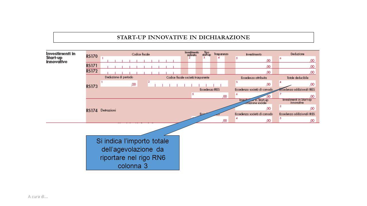 A cura di... START-UP INNOVATIVE IN DICHIARAZIONE Si indica l'importo totale dell'agevolazione da riportare nel rigo RN6 colonna 3