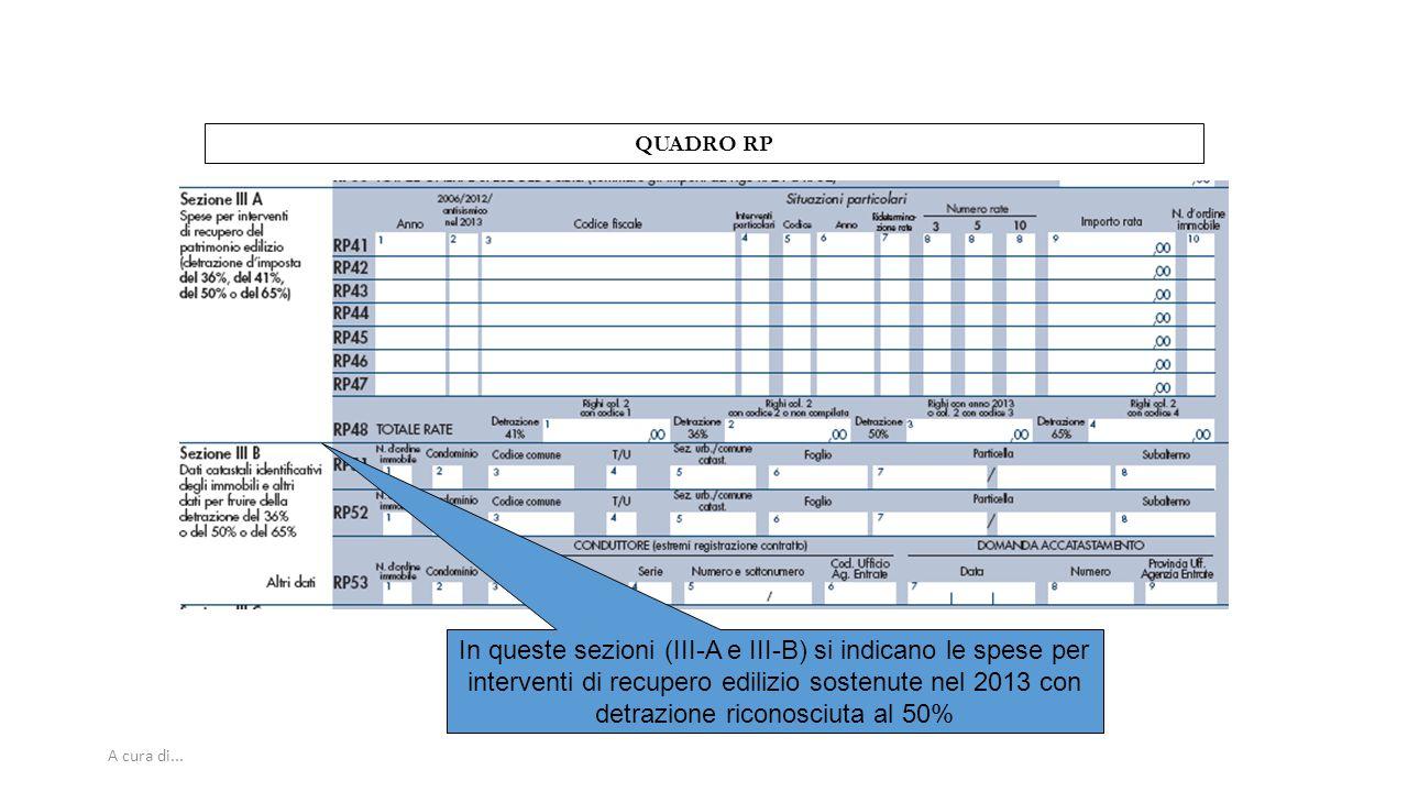A cura di... QUADRO RP In queste sezioni (III-A e III-B) si indicano le spese per interventi di recupero edilizio sostenute nel 2013 con detrazione ri