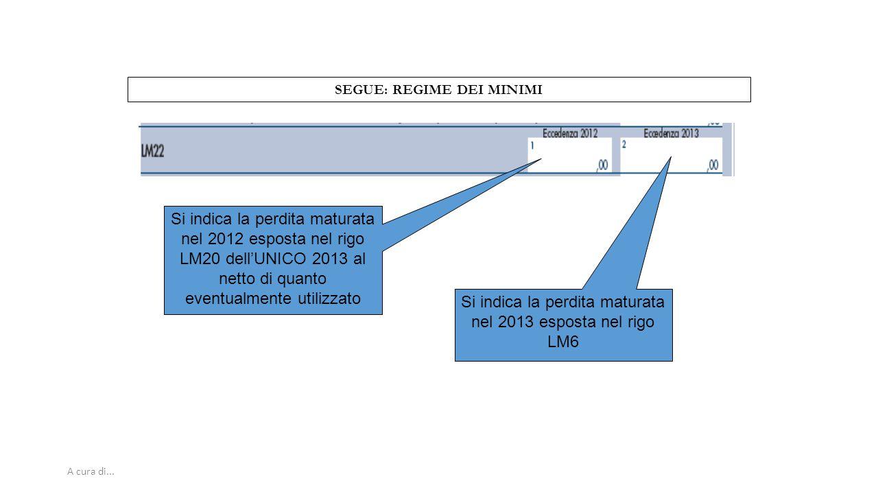 A cura di... SEGUE: REGIME DEI MINIMI Si indica la perdita maturata nel 2012 esposta nel rigo LM20 dell'UNICO 2013 al netto di quanto eventualmente ut