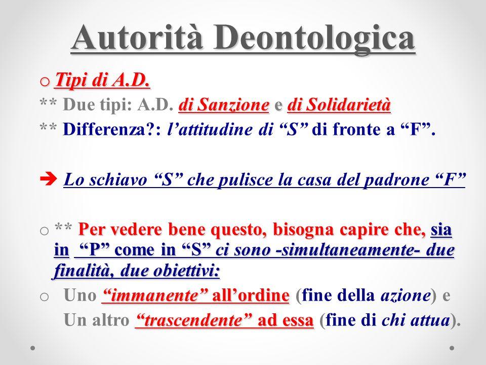"Autorità Deontologica o Tipi di A.D. di Sanzione e di Solidarietà ** Due tipi: A.D. di Sanzione e di Solidarietà ** Differenza?: l'attitudine di ""S"" d"