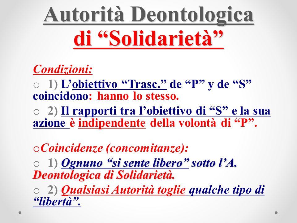 """Autorità Deontologica di """"Solidarietà"""" Condizioni: o 1) L'obiettivo """"Trasc."""" de """"P"""" y de """"S"""" coincidono: hanno lo stesso. o 2) Il rapporti tra l'obiet"""