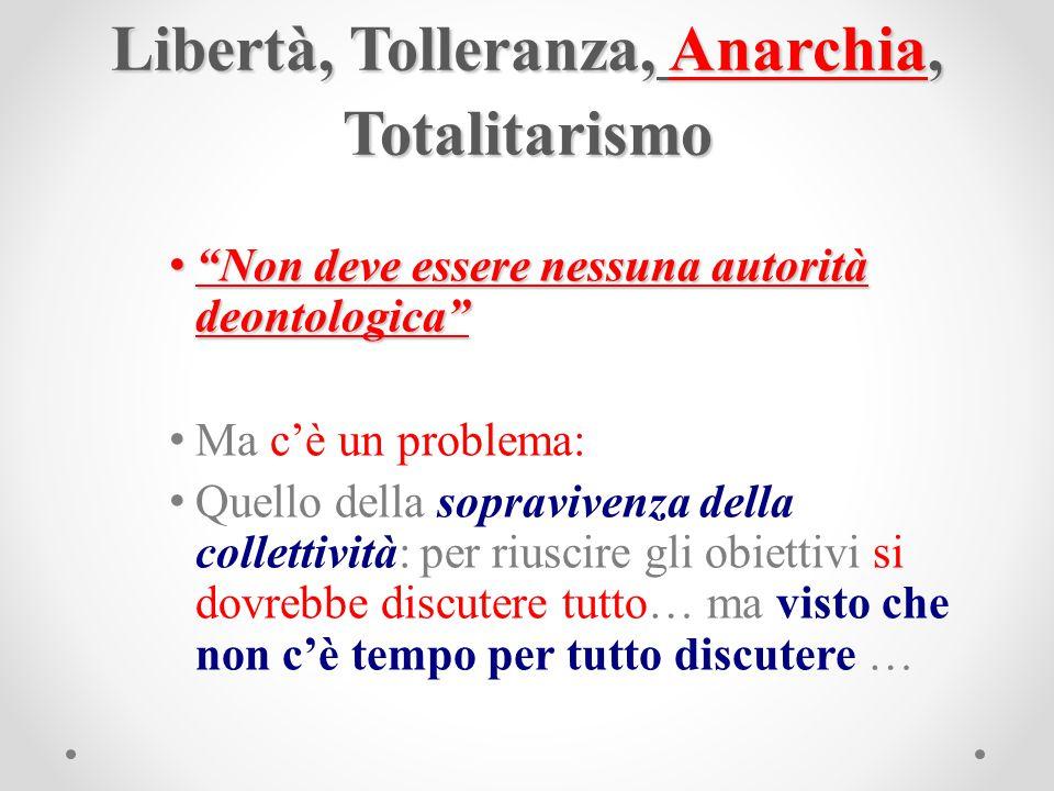 """Libertà, Tolleranza, Anarchia, Totalitarismo """"Non deve essere nessuna autorità deontologica"""" """"Non deve essere nessuna autorità deontologica"""" Ma c'è un"""