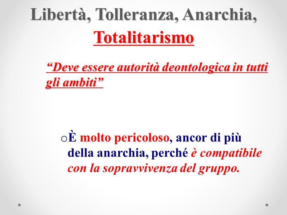 """Libertà, Tolleranza, Anarchia, Totalitarismo """"Deve essere autorità deontologica in tutti gli ambiti"""" o È molto pericoloso, ancor di più della anarchia"""