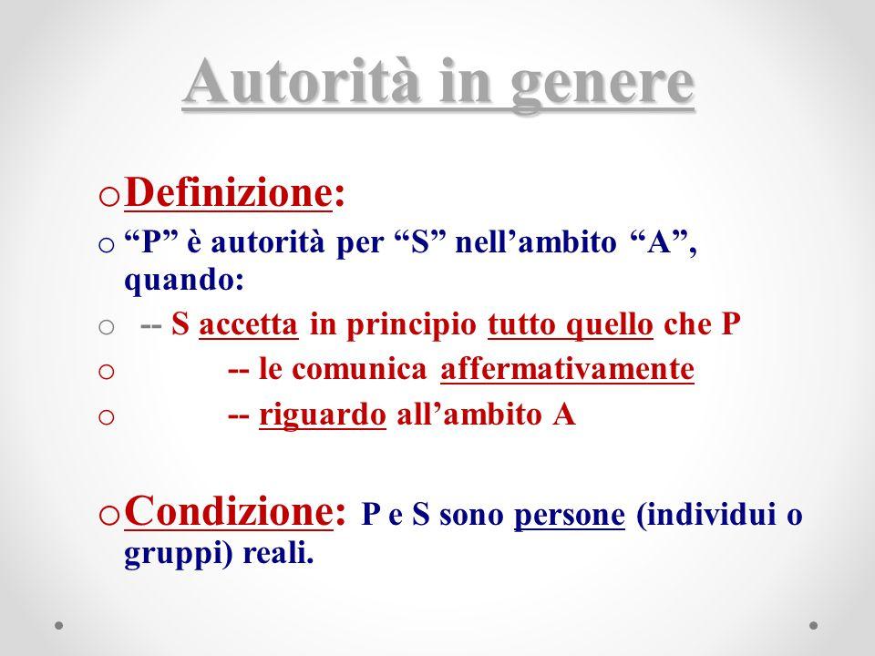 """Autorità in genere o Definizione: o """"P"""" è autorità per """"S"""" nell'ambito """"A"""", quando: o -- S accetta in principio tutto quello che P o -- le comunica af"""