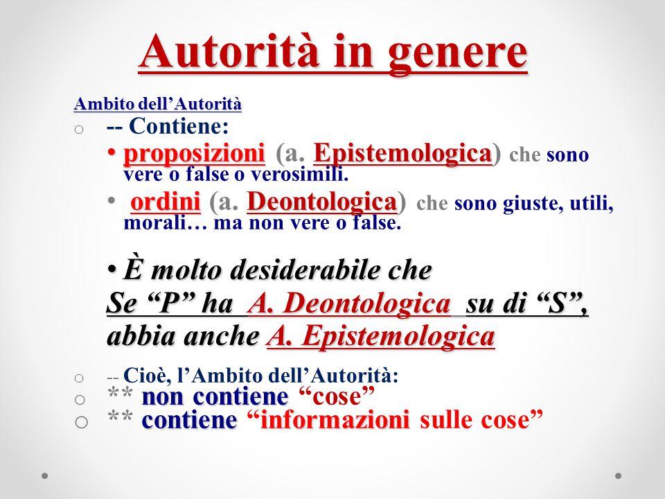 Autorità in genere Ambito dell'Autorità o -- Contiene: proposizioniEpistemologica proposizioni (a. Epistemologica) che sono vere o false o verosimili.