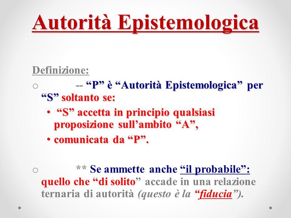 """Autorità Epistemologica Definizione: """"P"""" è """"Autorità Epistemologica"""" per """"S"""" soltanto se: o -- """"P"""" è """"Autorità Epistemologica"""" per """"S"""" soltanto se: """"S"""