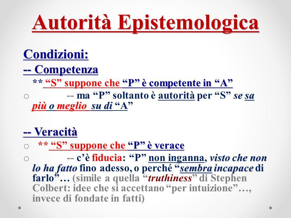 """Autorità Epistemologica Condizioni: -- Competenza """"P"""" è competente in """"A"""" ** """"S"""" suppone che """"P"""" è competente in """"A"""" se sa più o meglio su di o -- ma"""