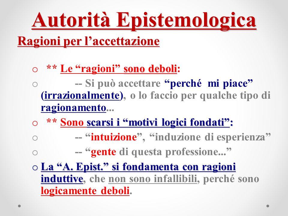 """Autorità Epistemologica Ragioni per l'accettazione sono deboli o ** Le """"ragioni"""" sono deboli: o -- Si può accettare """"perché mi piace"""" (irrazionalmente"""