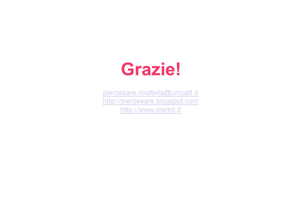 Grazie! piercesare.rivoltella@unicatt.it http://piercesare.blogspot.com http://www.cremit.it