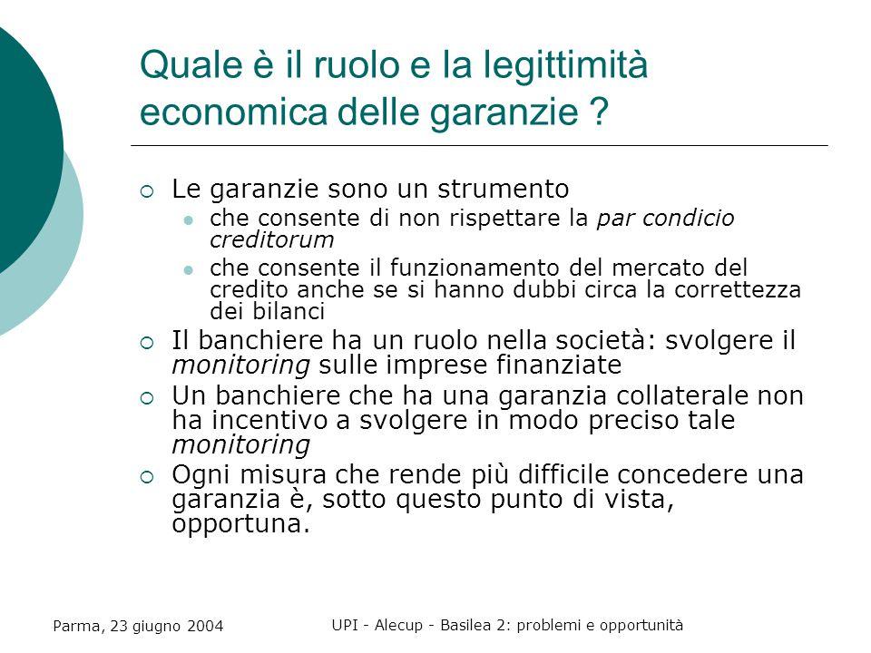 Parma, 23 giugno 2004 UPI - Alecup - Basilea 2: problemi e opportunità Quale è il ruolo e la legittimità economica delle garanzie .