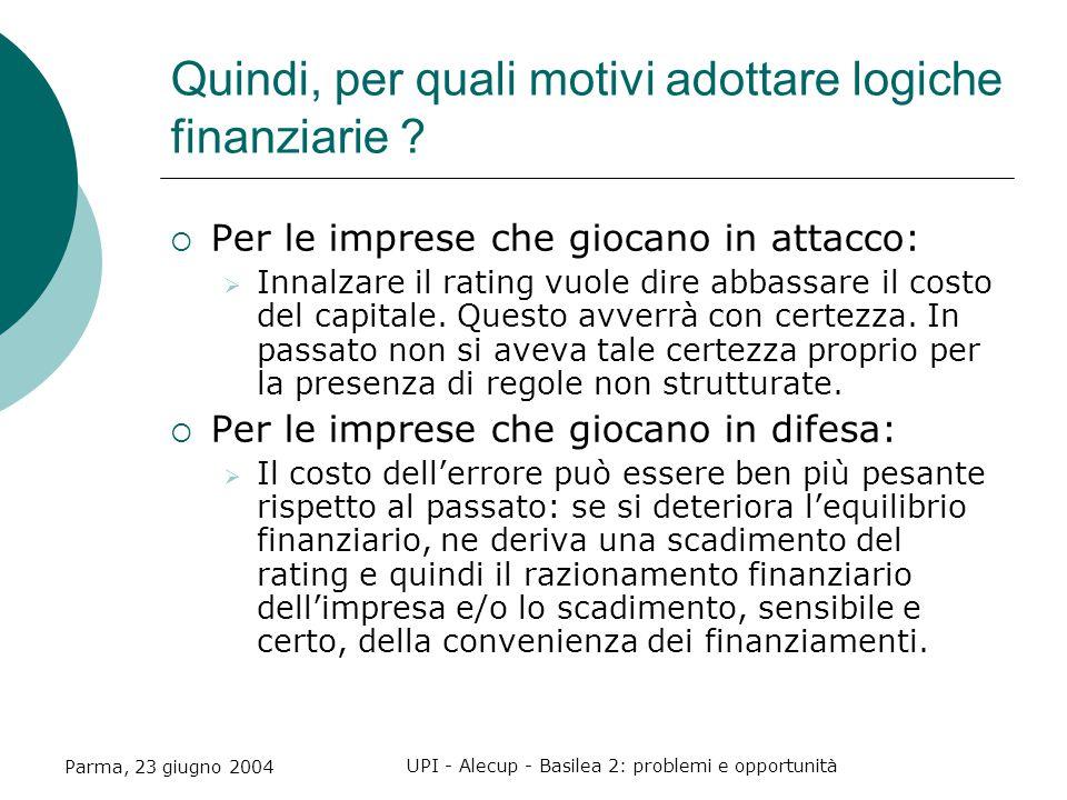 Parma, 23 giugno 2004 UPI - Alecup - Basilea 2: problemi e opportunità Quindi, per quali motivi adottare logiche finanziarie .