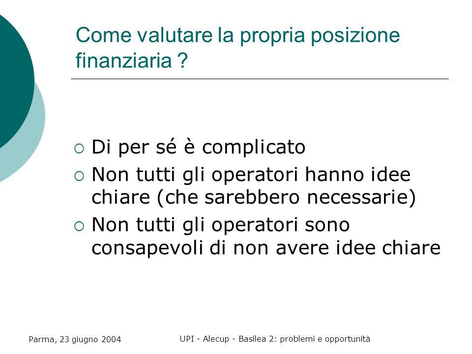 Parma, 23 giugno 2004 UPI - Alecup - Basilea 2: problemi e opportunità Come valutare la propria posizione finanziaria .