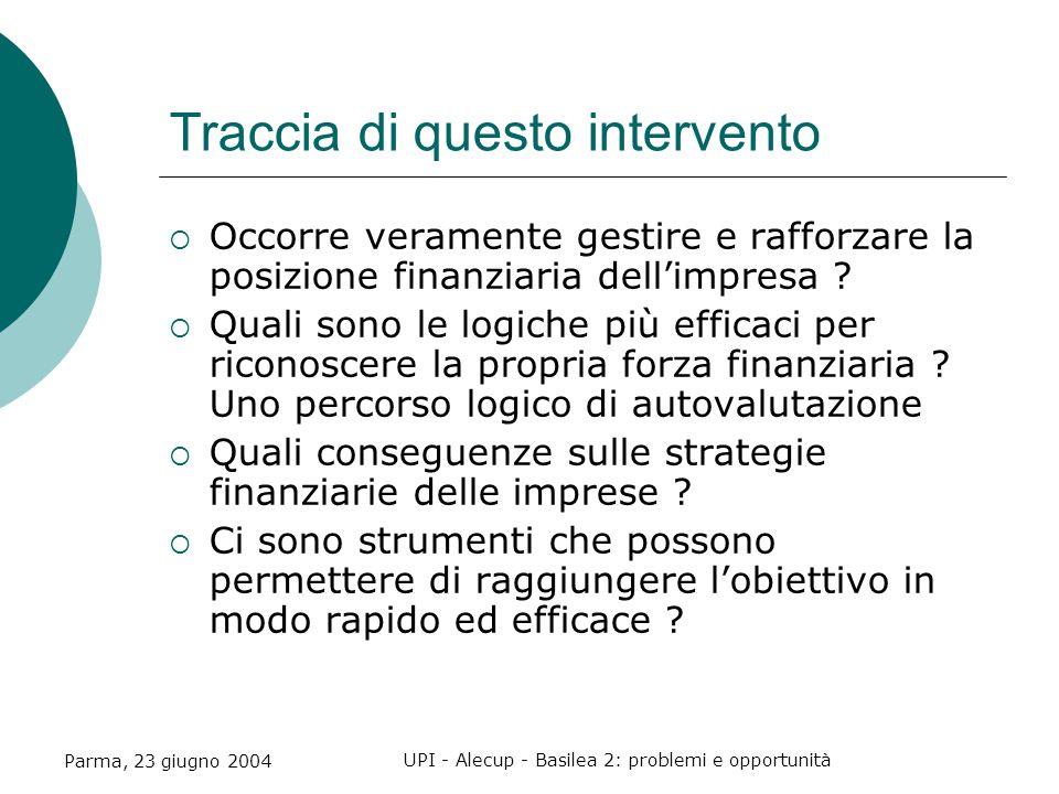 Parma, 23 giugno 2004 UPI - Alecup - Basilea 2: problemi e opportunità Traccia di questo intervento  Occorre veramente gestire e rafforzare la posizione finanziaria dell'impresa .