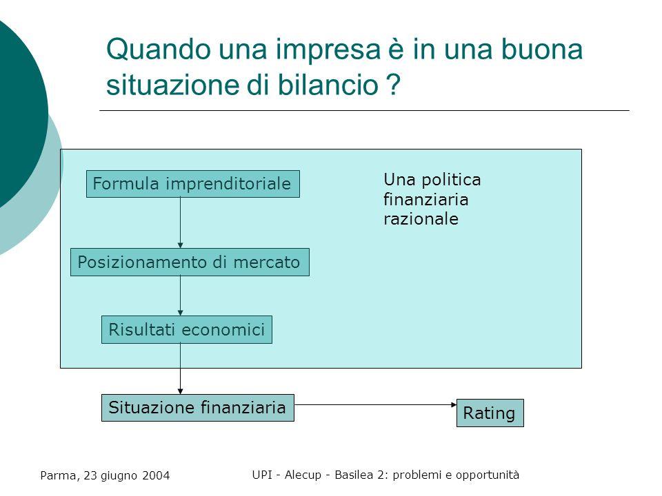 Parma, 23 giugno 2004 UPI - Alecup - Basilea 2: problemi e opportunità Quando una impresa è in una buona situazione di bilancio .