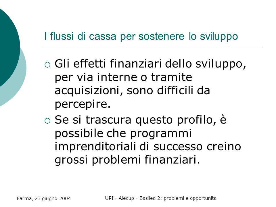 Parma, 23 giugno 2004 UPI - Alecup - Basilea 2: problemi e opportunità I flussi di cassa per sostenere lo sviluppo  Gli effetti finanziari dello sviluppo, per via interne o tramite acquisizioni, sono difficili da percepire.