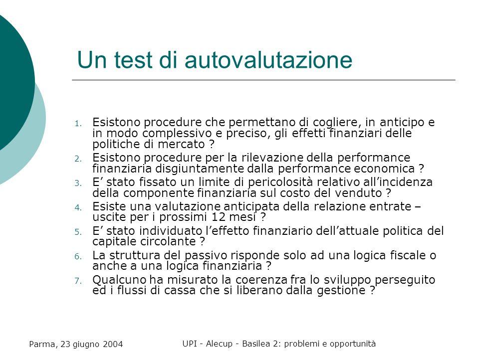 Parma, 23 giugno 2004 UPI - Alecup - Basilea 2: problemi e opportunità Un test di autovalutazione 1.