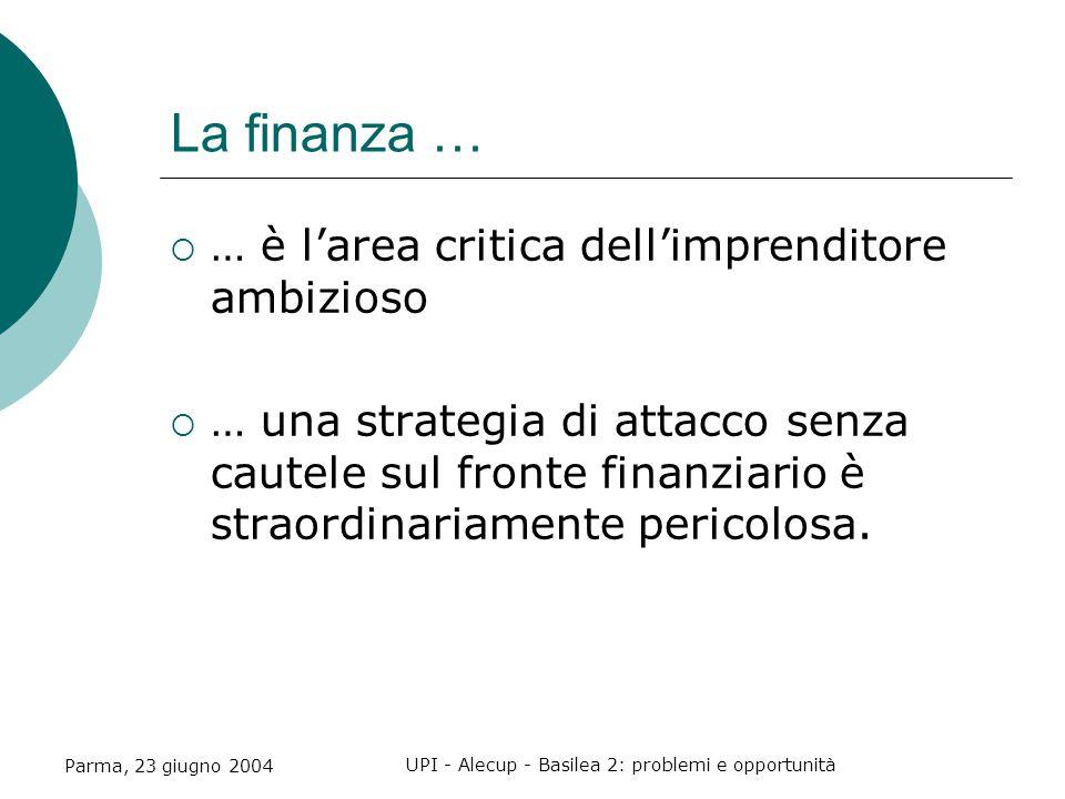 Parma, 23 giugno 2004 UPI - Alecup - Basilea 2: problemi e opportunità La finanza …  … è l'area critica dell'imprenditore ambizioso  … una strategia di attacco senza cautele sul fronte finanziario è straordinariamente pericolosa.