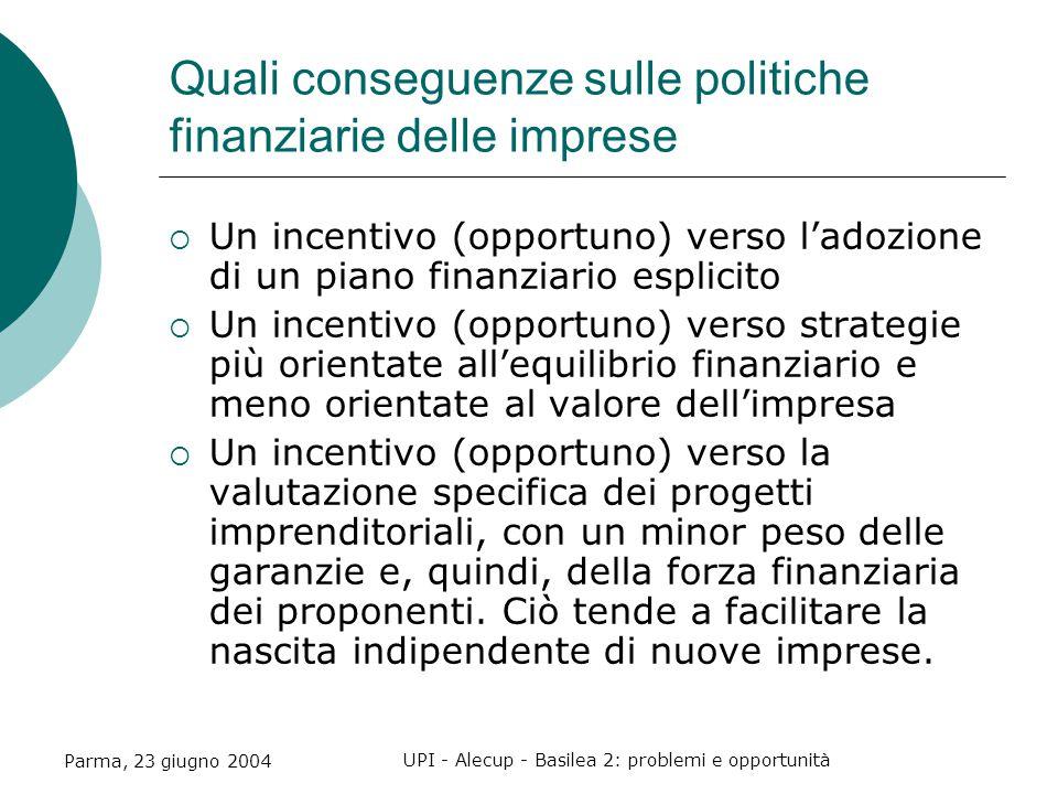 Parma, 23 giugno 2004 UPI - Alecup - Basilea 2: problemi e opportunità Quali conseguenze sulle politiche finanziarie delle imprese  Un incentivo (opportuno) verso l'adozione di un piano finanziario esplicito  Un incentivo (opportuno) verso strategie più orientate all'equilibrio finanziario e meno orientate al valore dell'impresa  Un incentivo (opportuno) verso la valutazione specifica dei progetti imprenditoriali, con un minor peso delle garanzie e, quindi, della forza finanziaria dei proponenti.
