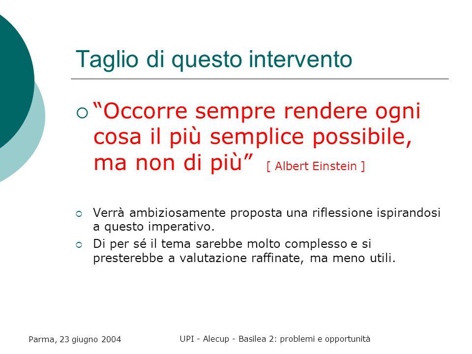 Parma, 23 giugno 2004 UPI - Alecup - Basilea 2: problemi e opportunità Taglio di questo intervento  Occorre sempre rendere ogni cosa il più semplice possibile, ma non di più [ Albert Einstein ]  Verrà ambiziosamente proposta una riflessione ispirandosi a questo imperativo.