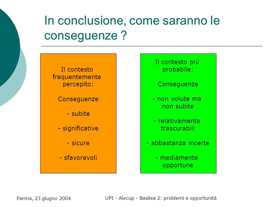 Parma, 23 giugno 2004 UPI - Alecup - Basilea 2: problemi e opportunità In conclusione, come saranno le conseguenze .