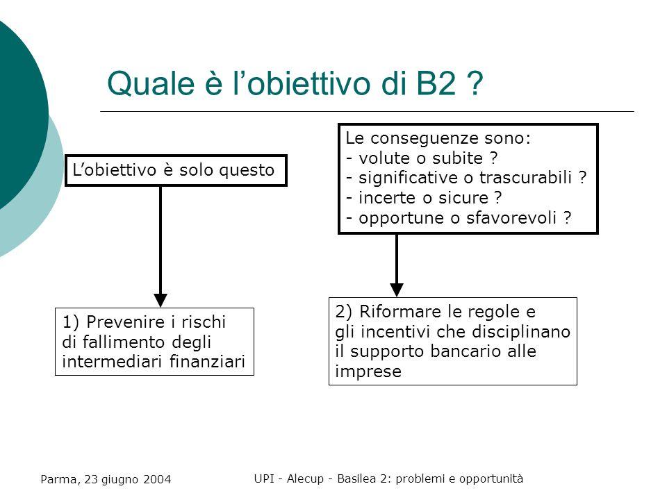 Parma, 23 giugno 2004 UPI - Alecup - Basilea 2: problemi e opportunità Quale è l'obiettivo di B2 .