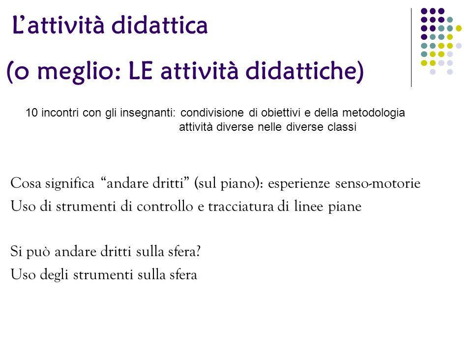 """L'attività didattica Cosa significa """"andare dritti"""" (sul piano): esperienze senso-motorie Uso di strumenti di controllo e tracciatura di linee piane S"""