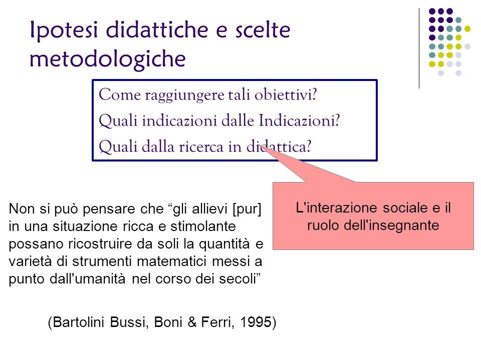 Ipotesi didattiche e scelte metodologiche Come raggiungere tali obiettivi? Quali indicazioni dalle Indicazioni? Quali dalla ricerca in didattica? L'in