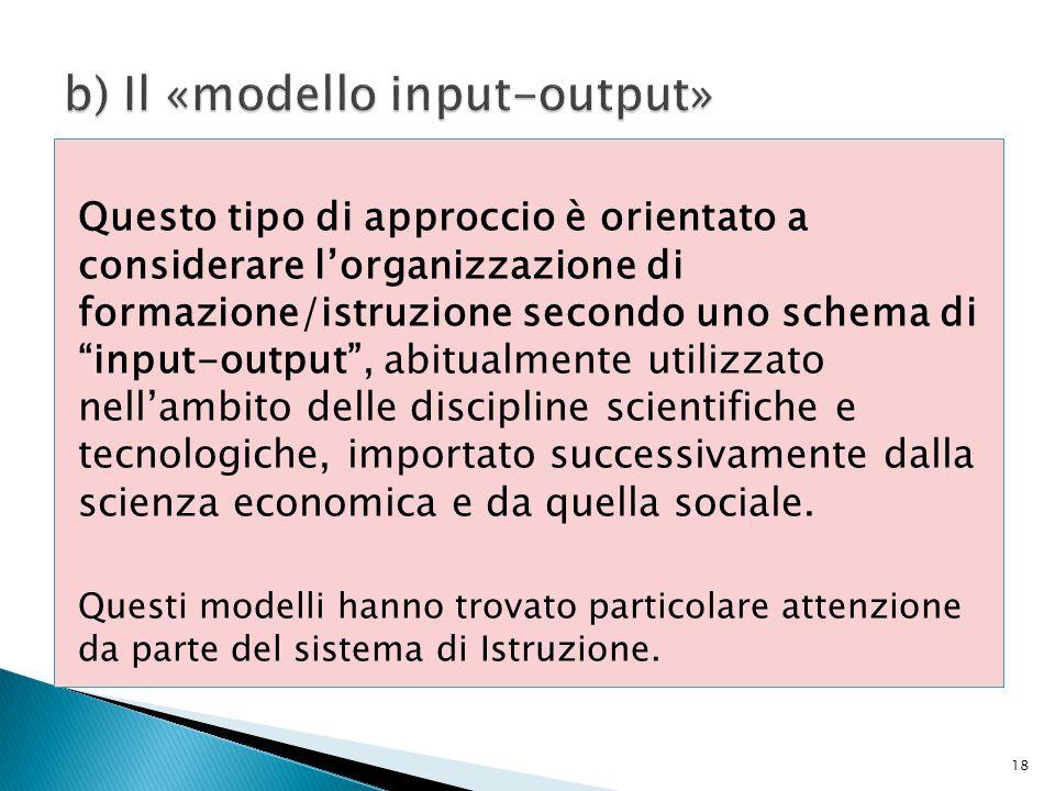 """Questo tipo di approccio è orientato a considerare l'organizzazione di formazione/istruzione secondo uno schema di """"input-output"""", abitualmente utiliz"""